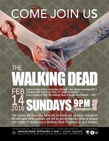 COME JOIN US ON VALINTINES DAY FOR THE SECOND HALF OF THE WALKING DEAD SEASON 6
