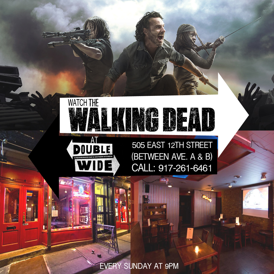 Bars Watching TWD at DOUBLE WIDE southern bar and grill 12th street between ave A and B