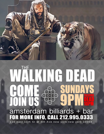 Bars Watching King Ezekiel at amsterdam billiards TWD season 7 Host William Fuentes